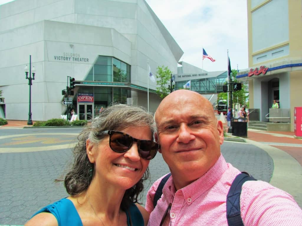 The authors pose for a selfie outside of the National World War II Museum in New Orleans.