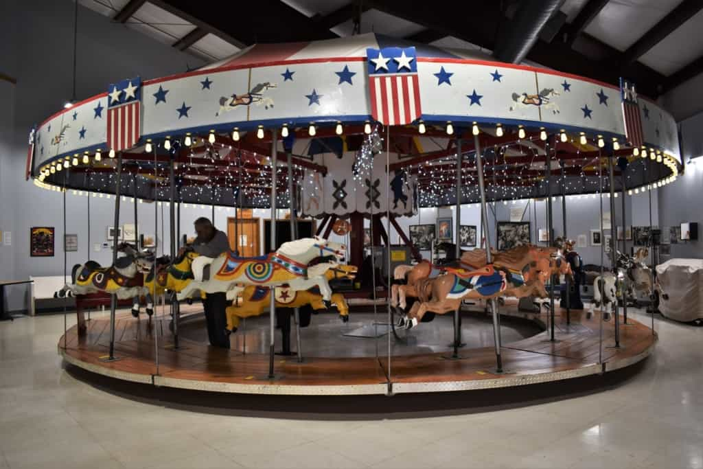 Another of the carousels in the museum was built with aluminum horses after World war II.