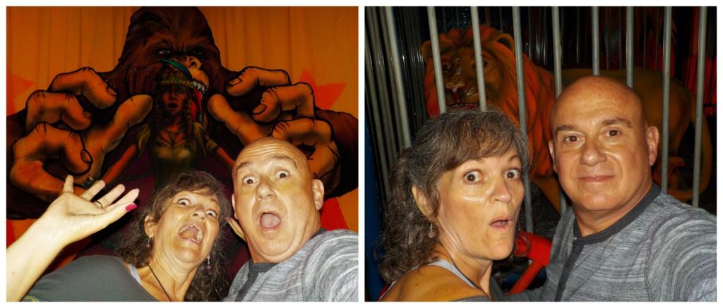 The authors take a moment of amusement to pose for some silly selfies.