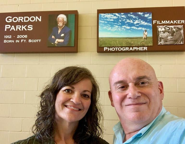 The authors pose for a selfie after touring the Gordon Parks Museum in Fort Scott, Kansas.