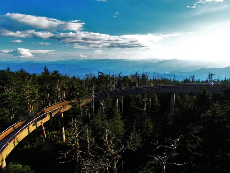 The climb up to Clingmans Dome challenges the stamina of visitors.