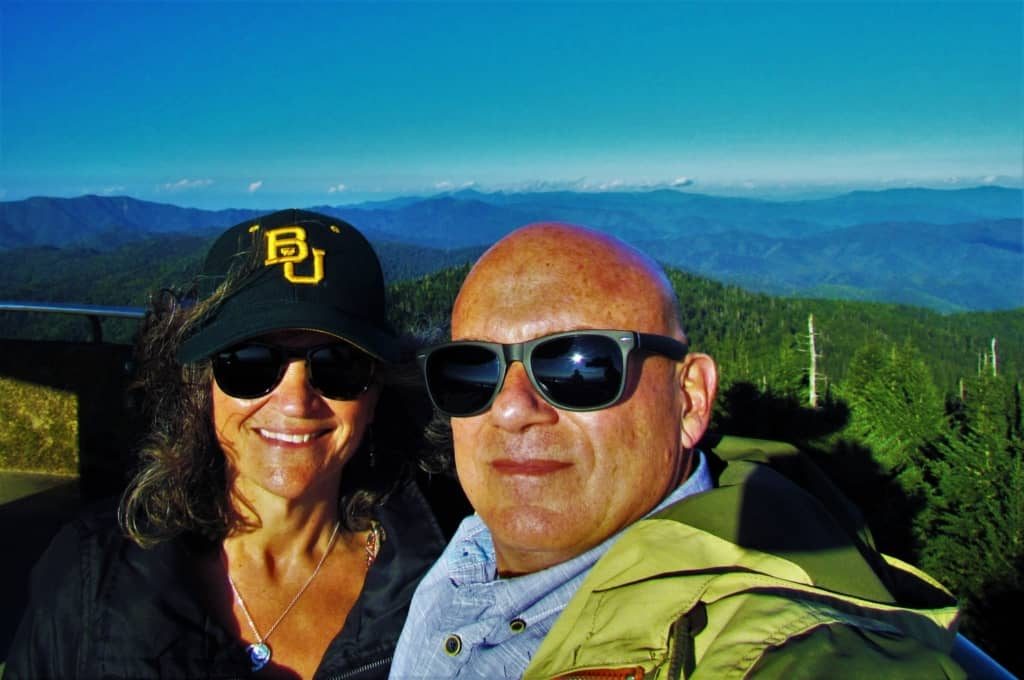 The authors enjoy a selfie moment after completing the exhausting hike up Clingmans Dome.