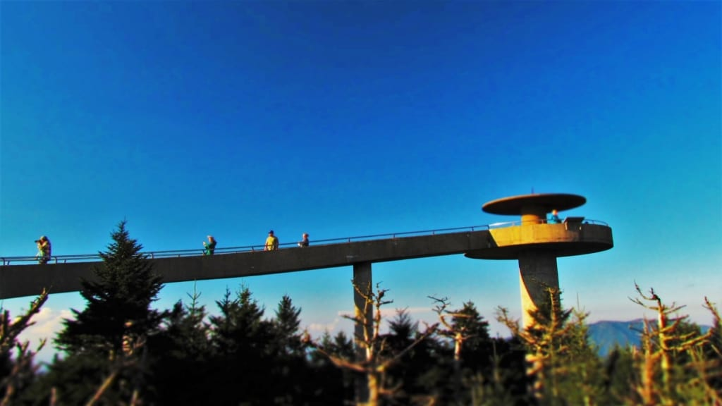 The platform at Clingmans Dome offers expanded views of the Smoky Mountains.