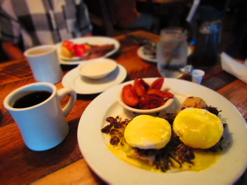 Eggs Benedict is made extra special with the addition of corned beef.
