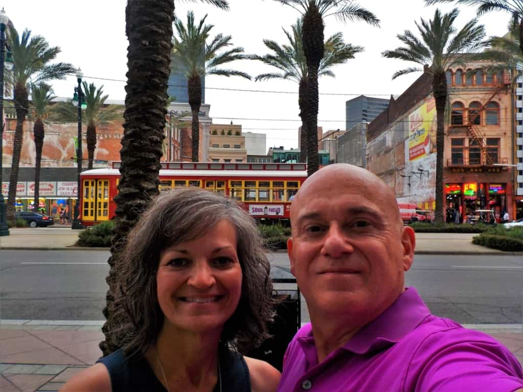 The authors pose for a selfie along Canal Street, which is the border of the French Quarter in New Orleans.