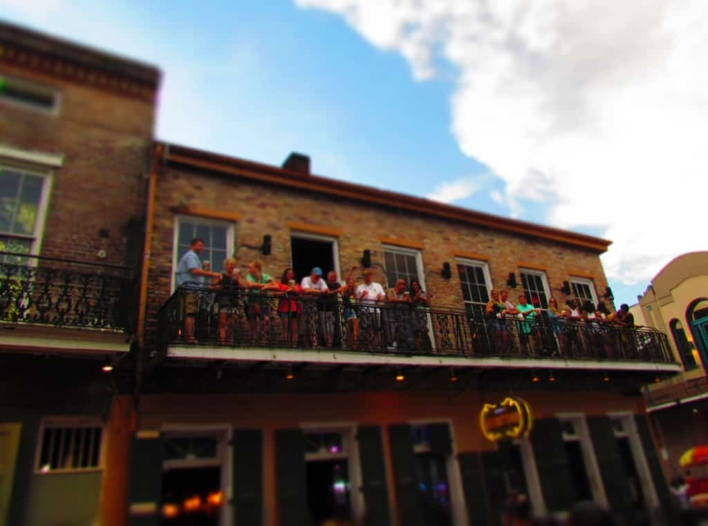 Balconies are a fun place to watch the crowds pass along Bourbon Street.