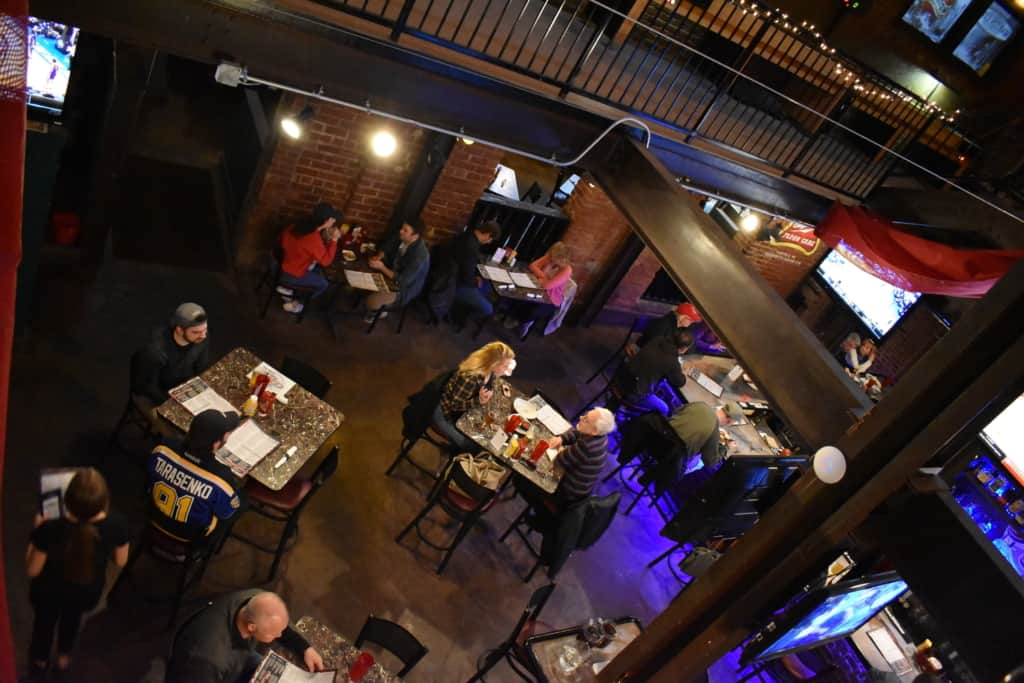 Riverpark Pub has an interesting interior space that was once the power plant for the local college.