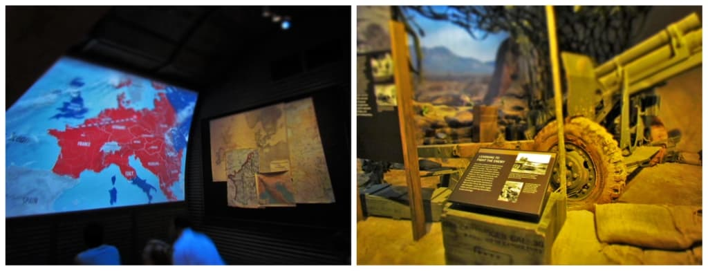 A variety of exhibit styles are used to educate the public on the cost of peace.