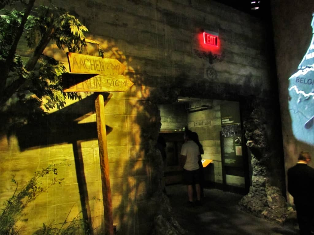 A recreated German bunker holds displays at the National World War II Museum.