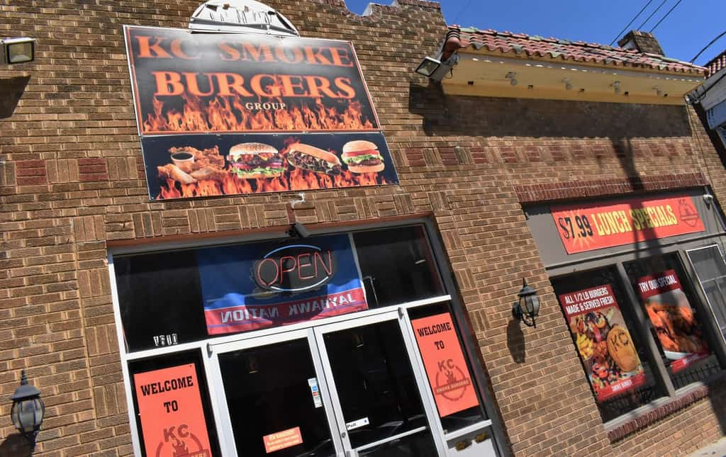 The exterior of KC Smoke Burgers grabs the attention of those passing by.