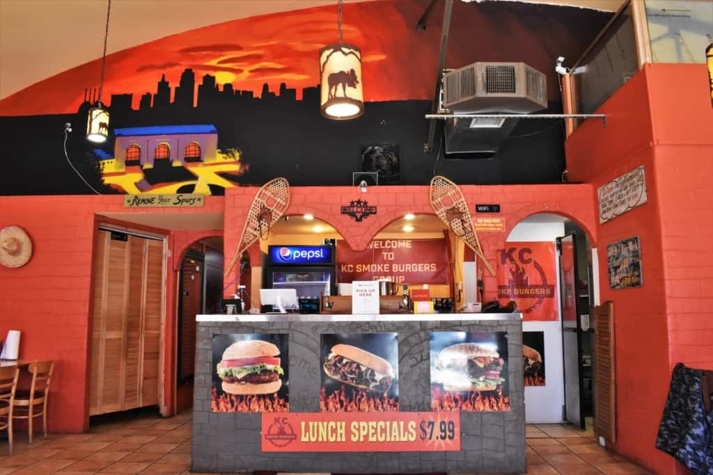 Colorful decor brighten the atmosphere inside of KC Smoke Burgers in Kansas City.