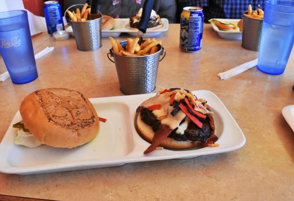 The colorful toppings added a bit of zest to the smoky flavor of our burgers.