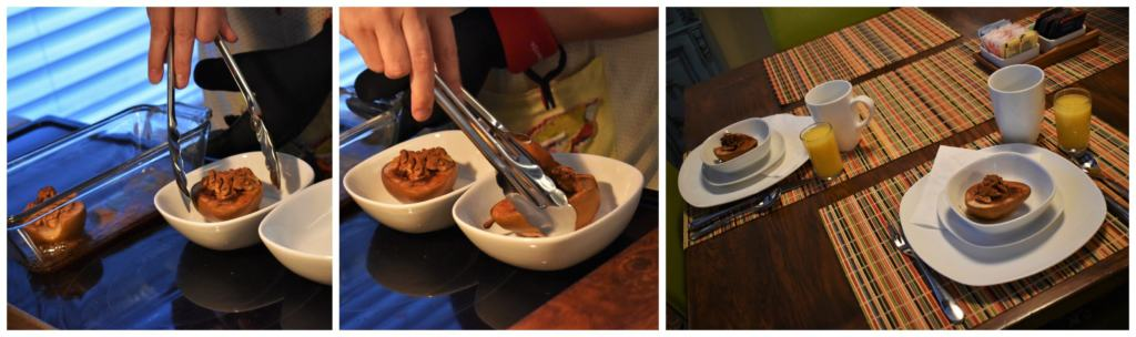 Our host plates up some delicious baked pears for us to enjoy.