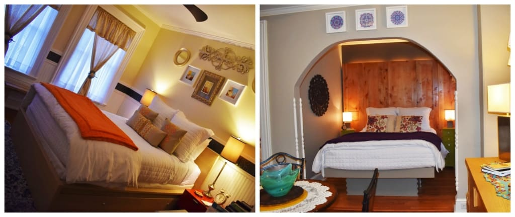 A pair of rooms that can be rented at Main Street Inn in Parkville, Missouri.
