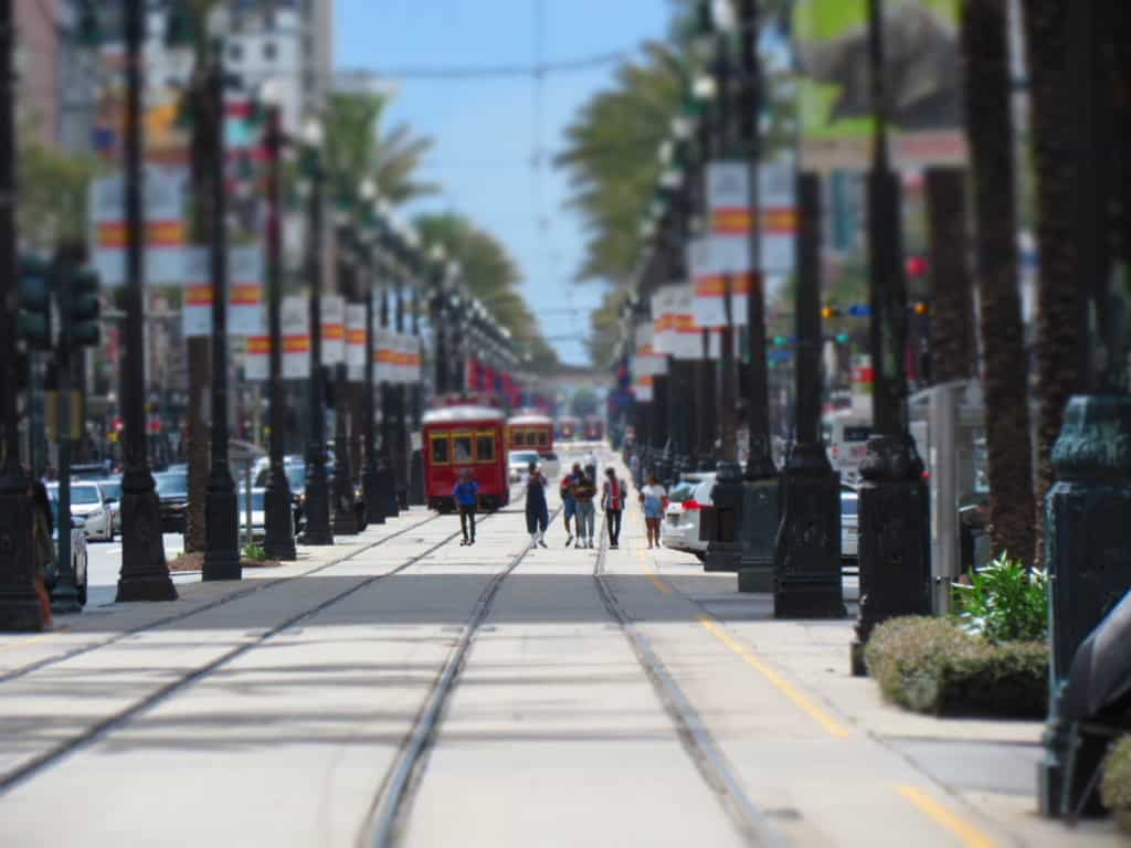 New Orleans has an efficient trolley system to move passengers around the city.