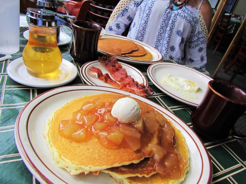 A delicious breakfast of pancakes is a great way to fuel up for a day of exploring.