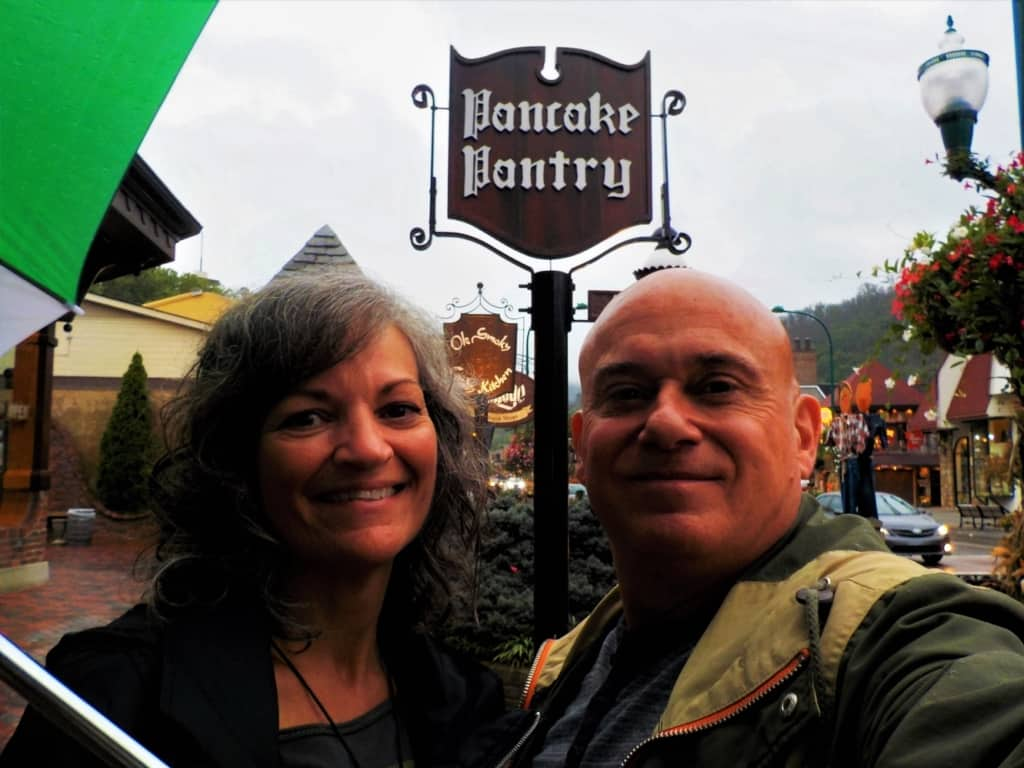 The authors stop for a selfie during their pancake tour of Gatlinburg, Tennessee.