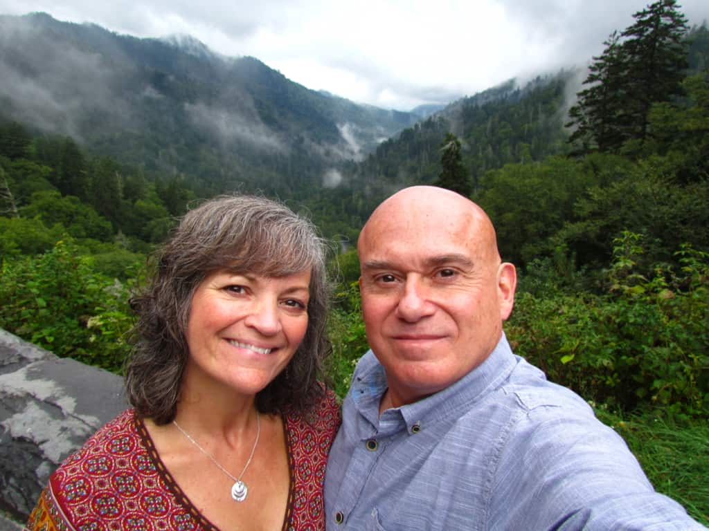 The authors pose for a selfie along the Blue Ridge Parkway.