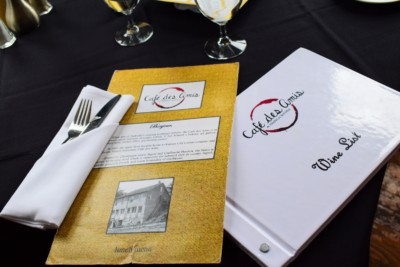 The menu at Cafe des Amis is filled with delightful French cuisine.