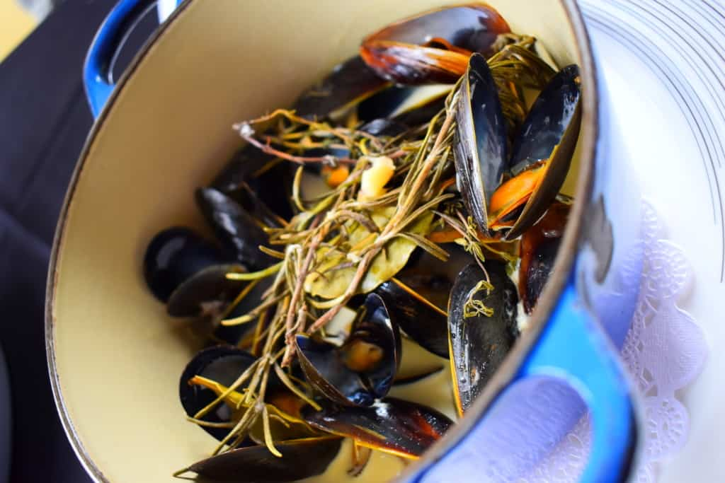 A colorful pot of steamed mussels is as pleasing to the eyes as it is the palate.