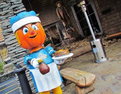 In the Fall, Gatlinburg is decorated with cartoonish scarecrows like this pancake toting version.
