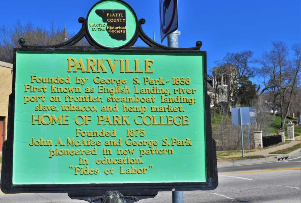 A plaque explains how Parkville came by its unusual name.