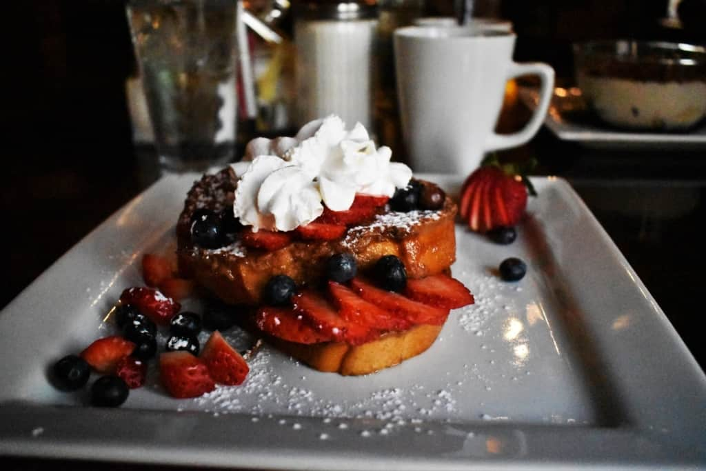The Stuffed French Toast offers a fruity and sweet breakfast option for the start of our day.