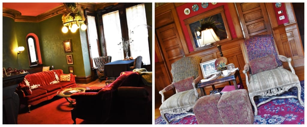 The Victorian furniture adds a level of elegance to the Lyons Twin Mansion decor.