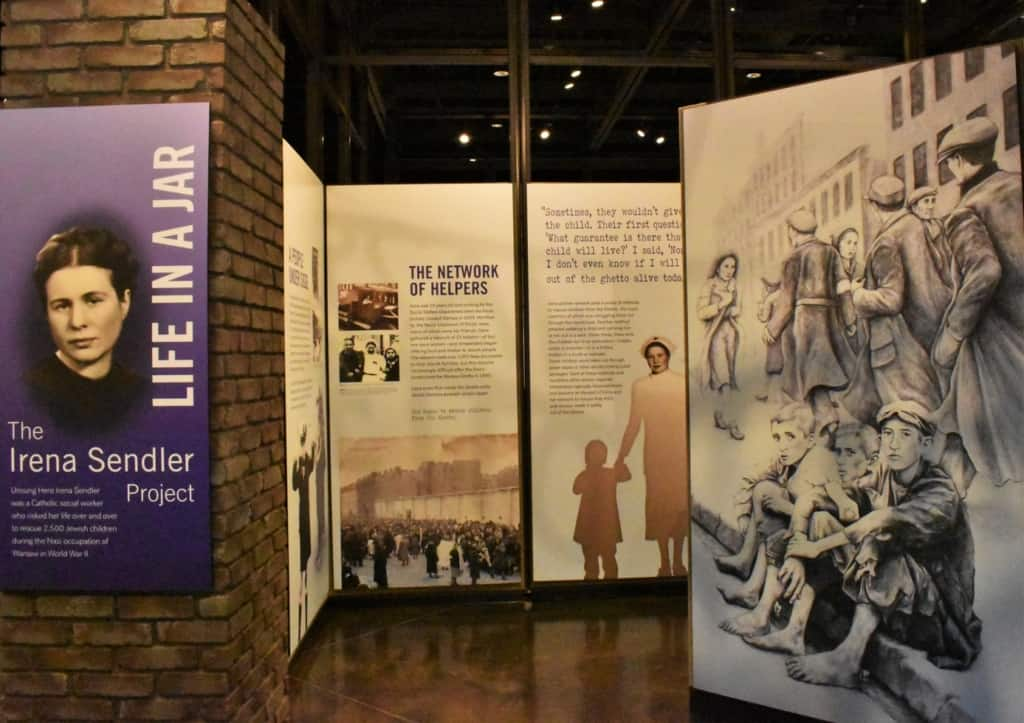 The main exhibit focuses on a woman who helped rescue children from possible death from the Nazi invasion of Poland.