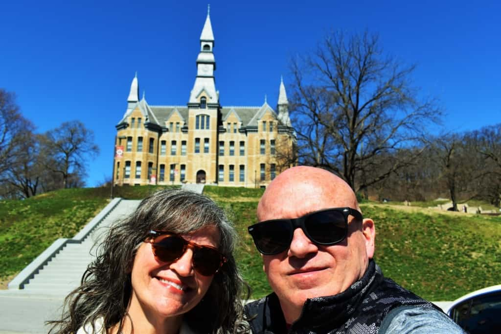 The authors pose for a selfie in front of Park University.