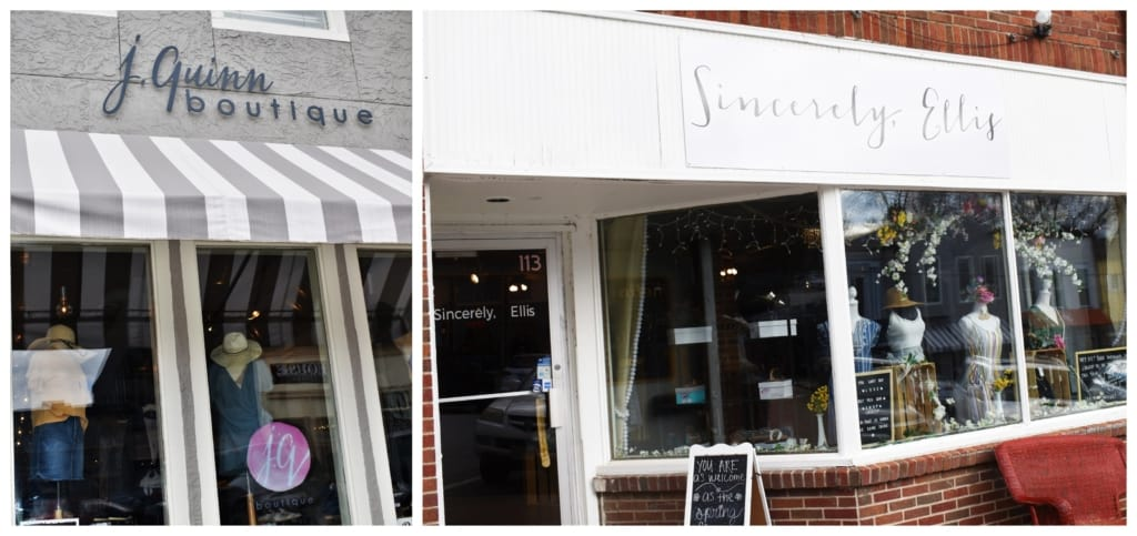 Womens apparel boutiques attract plenty of shoppers to the downtown Parkville shops.