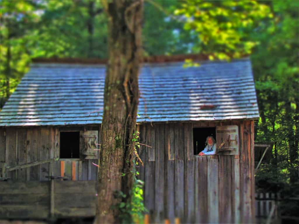 One of the volunteers is captured at the grist mill in Cades Cove.