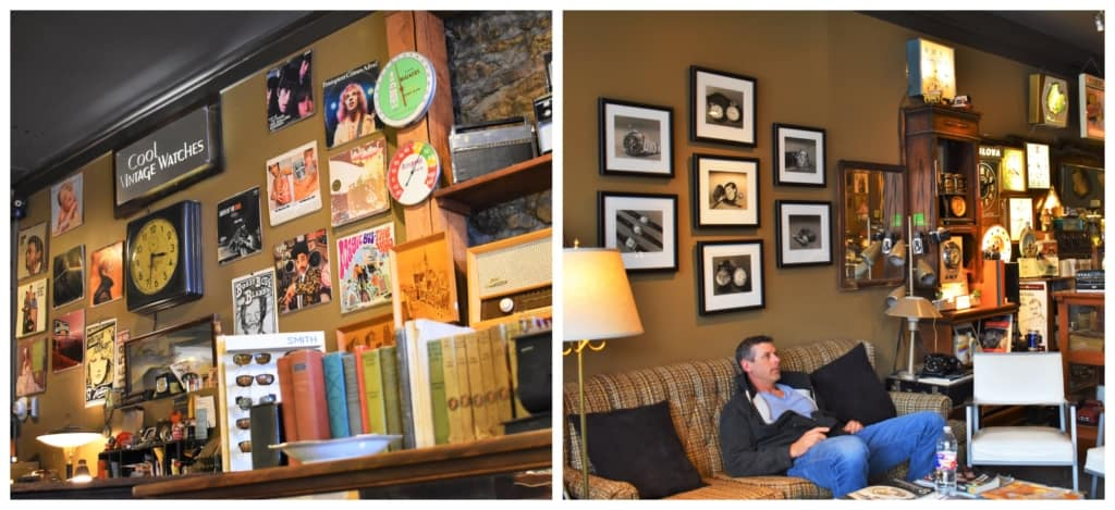Guys enjoy relaxing at Cool Vintage Watches, while their significant others are checking out the Parkville shops.