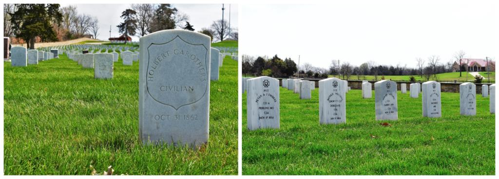 Markers at the Fort Scott National Cemetery tell the story of battles in the region.