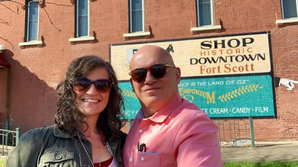 The authors pose for a selfie during their visit to downtown Fort Scott, Kansas.