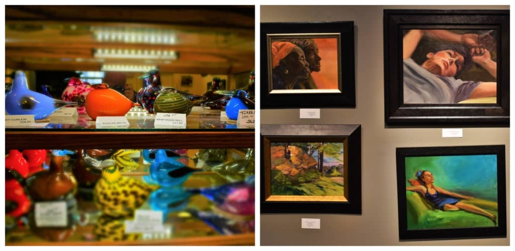 A variety of fine art pieces can be found inside the Cathy Kline Gallery located in Parkville, Missouri.