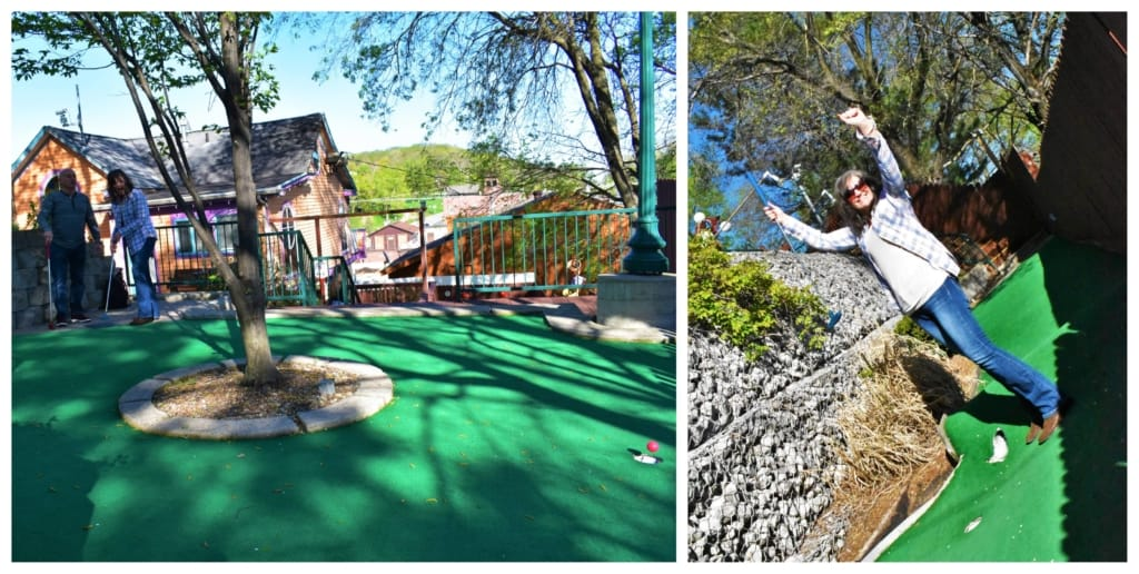 Crystal rejoices in her well earned victory at Parkville Mini Golf.