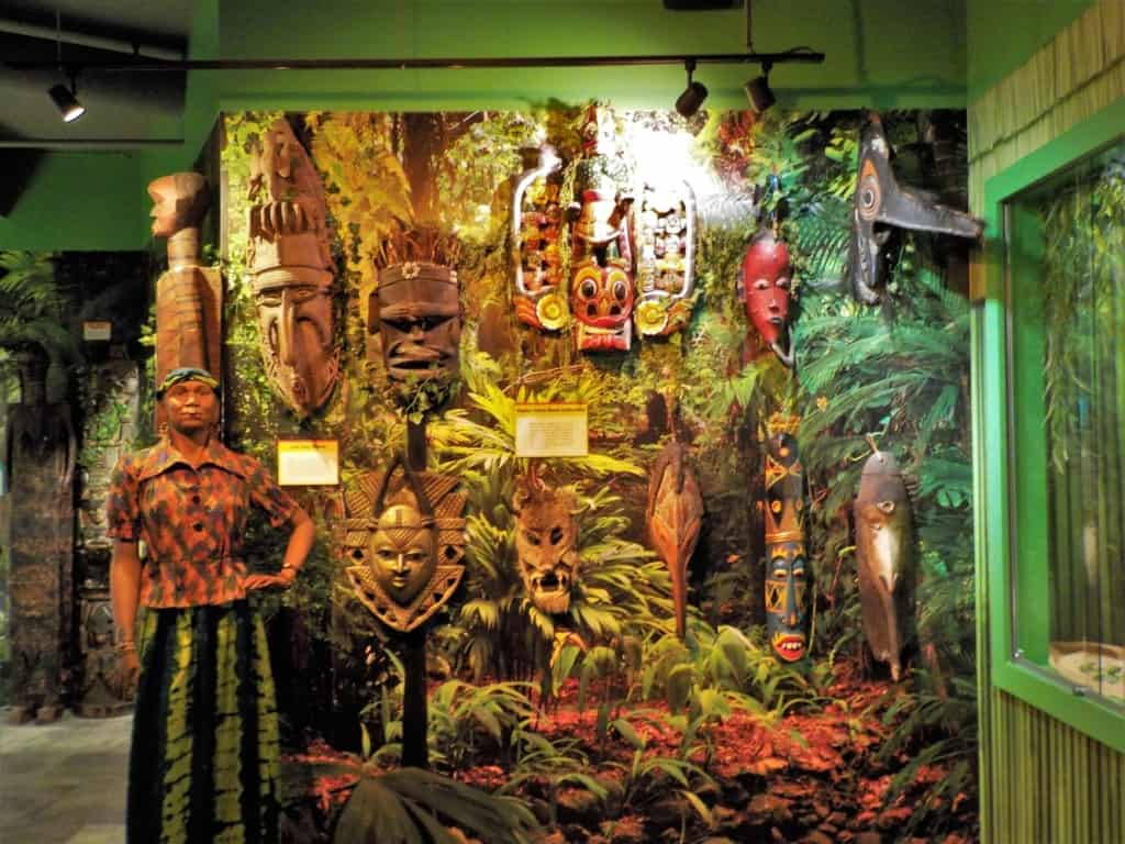 One of the exhibits shows off a variety of masks from different cultures around the world.