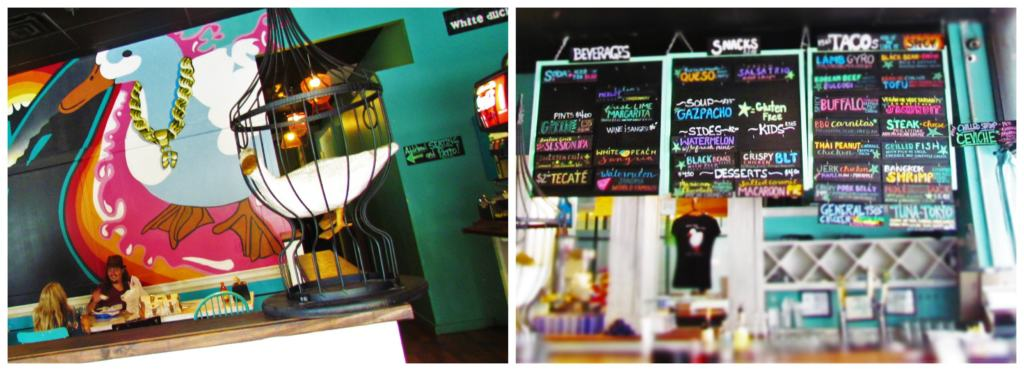 The funky and hip decor of White Duck Taco Shop puts customers in a good mood.