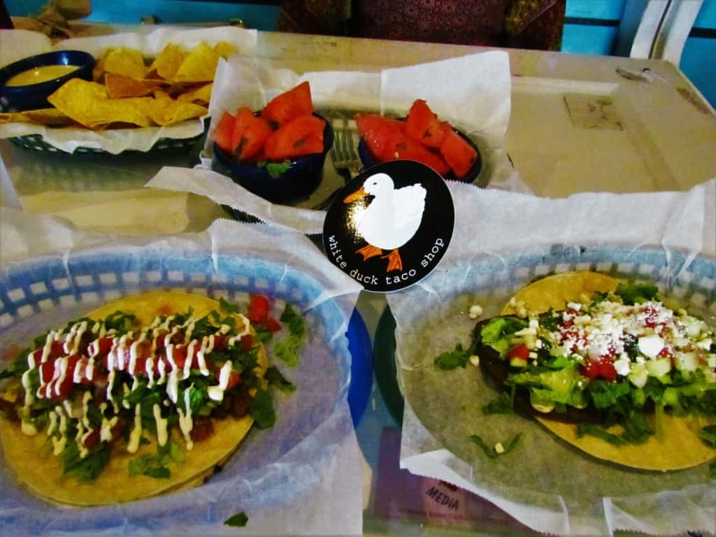 White Duck Taco Shop offers a variety of unique flavor combinations.