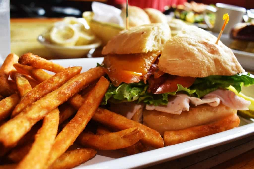 The Boat House Pub's version of a club sandwich is served on a ciabatta bun.