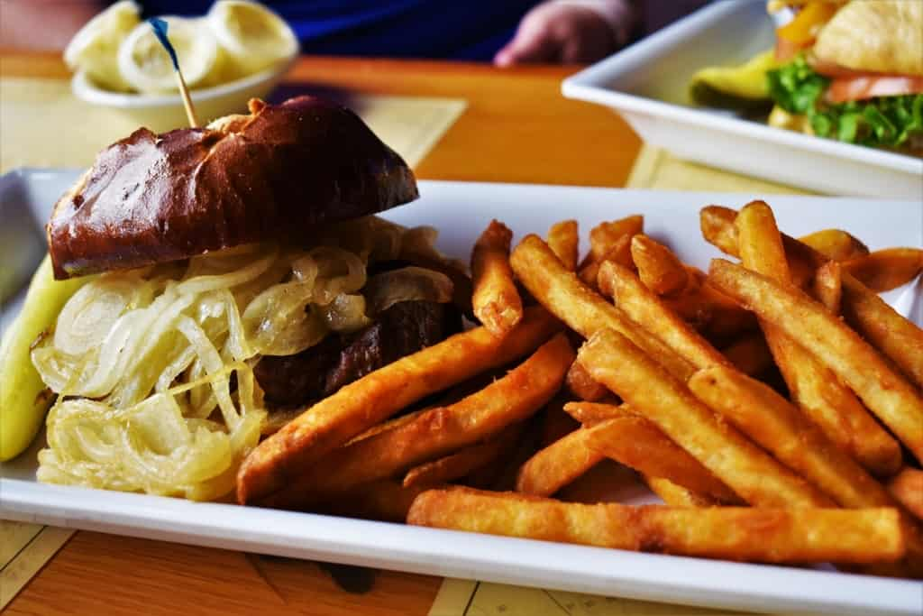 A steak sandwich makes a filling meal at Boat House Pub.