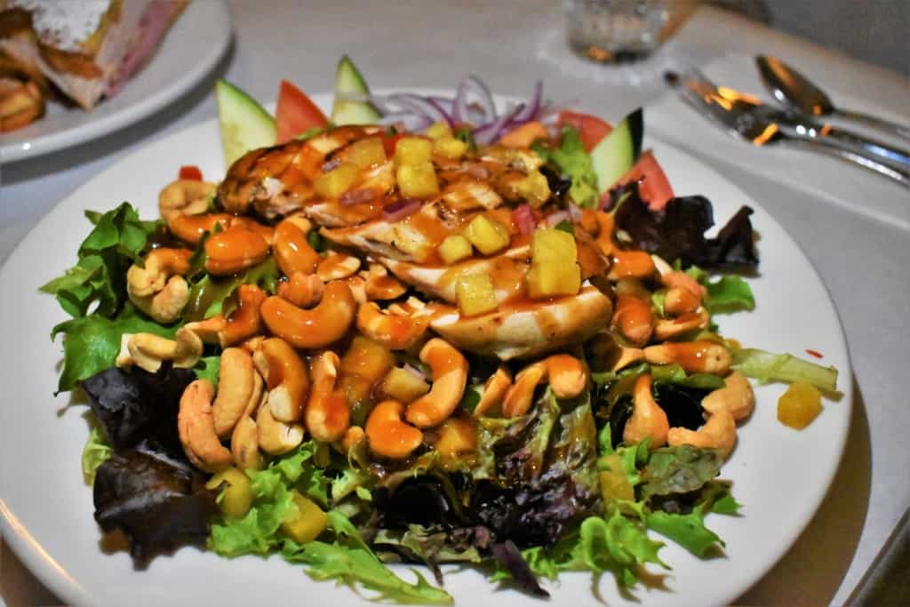 The Teriyaki Chicken Salad is a beautiful dish at Maldaner's restaurant in Springfield, Illinois.