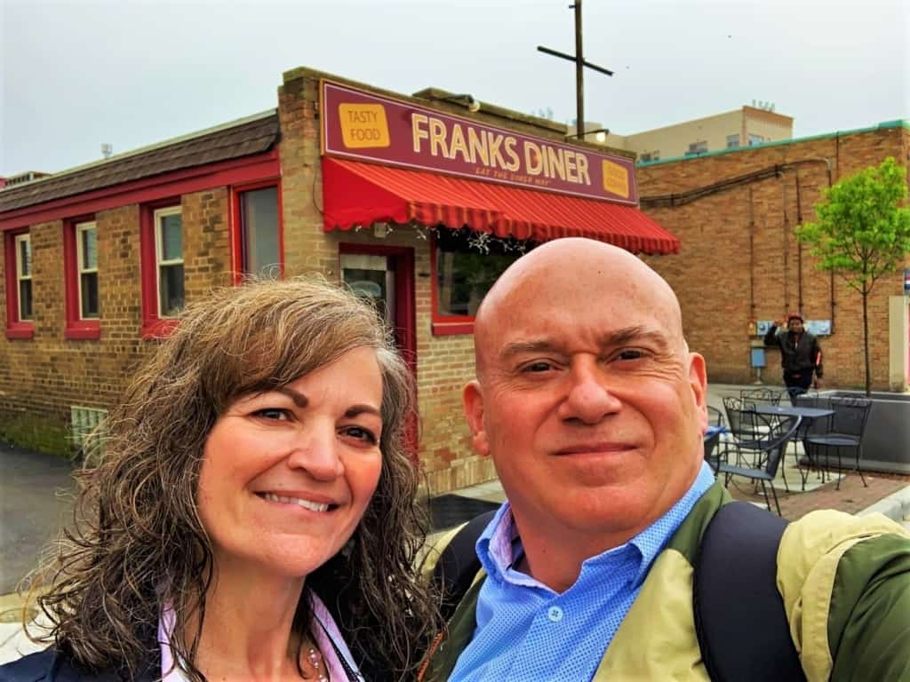 The authors pose for a selfie prior to walking off the massive plates at Franks' Diner.