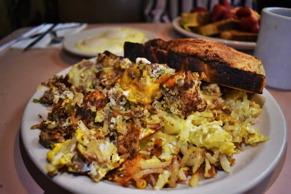 One of the massive plates at Franks' Diner is the Garbage Plate, which comes in full or half orders.