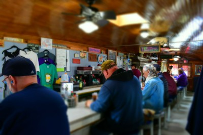 Diners spin the stools at Franks' Diner in Kenosha, Wisconsin.