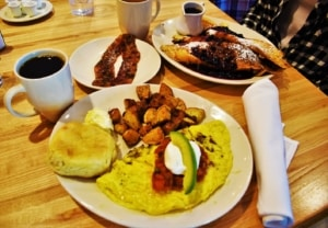 A heraty breakfast can be found at Ginger Sue's in Kansas City, Kansas.