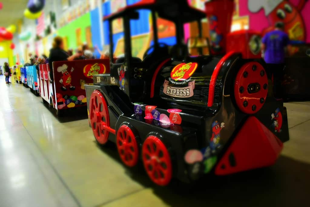 The train that takes visitors on a ride through Jelly Belly Junction is brightly decorated and fun to see.