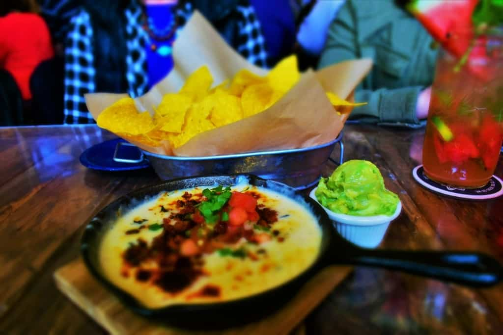 Cheesy Queso Dip makes a great appetizer choice on Taco Anyday at KC Taco Company in Kansas city.