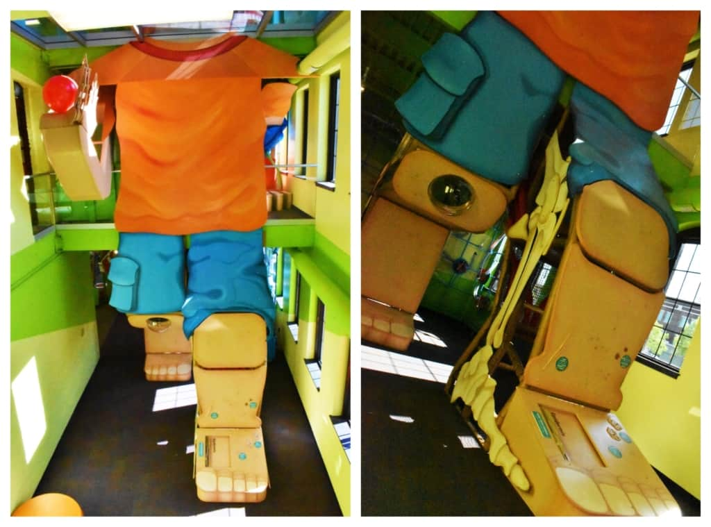 One of the first sights that visitors see whne entering Kidzeum is the huge three-story human body.